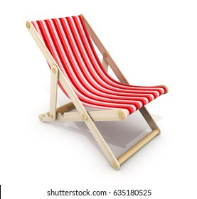 One red lounger on white background. 3d illustration