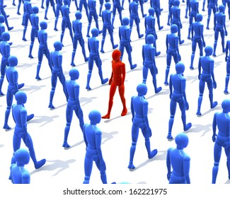One red man, figure walking contrary to a group, crowd of walking, blue figures, people, 3d rendering on white background