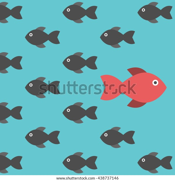 One red unique different fish swimming opposite way of identical black ones. Courage, confidence, success, crowd and creativity concept