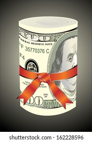 One roll from dollars in a red ribbon with a gift bow.