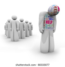 One sad person with the word Help on him stands apart from the group, being rejected and needing psychological or medical attention