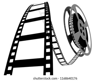 One of a series of 3d computer graphic renders.  Move themed image with movie film.