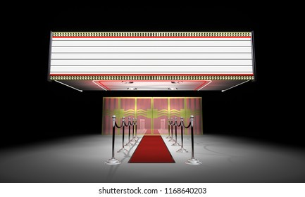 One of a series of 3d computer graphic renders.  Entrance to a movie or show theater with marquee.