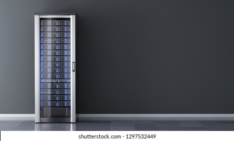 One Server rack against the wall in server room data center.3d rendering