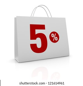 one shopping bag with the number five and the percent symbol (3d render)