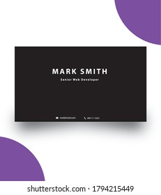 One sided black business card | dark Business card | simple dark business card