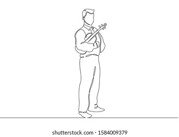 One single continuous isolated doodle silhouette contour hand drawn art flat line musician is played by a violinist male. Classical music, concert, play, violin, classical, instrument, string,