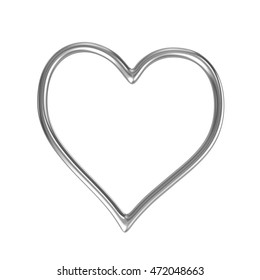 One Single Heart Shape Silver Ring Frame Isolated on White Background 3D Illustration