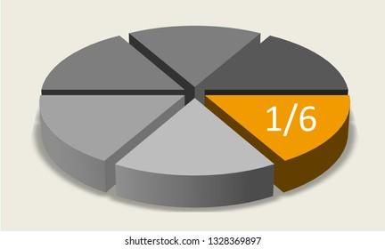 One sixth pie chart