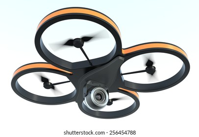 one small drone with a camera, on white background, also concept of privacy (3d render)