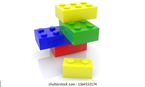 One small toy brick near four toy bricks in various colors.3d illustration