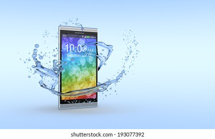 one smartphone with water splashes around it, concept of waterproof product (3d render)