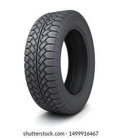 One snow tire car on white background. 3d illustration