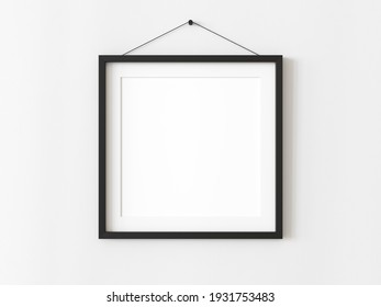 One square blank picture frame for photographs. Black picture frame mockup. Isolated picture frame mockup template on white background. 3D illustration