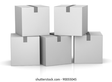 one stack of white card boxes (3d render)