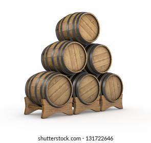 one stack of wooden barrels (3d render)
