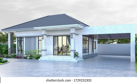 One story contemporary house of Thai style with parking by 3D rendering