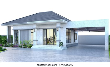 One Story House Thai style with parking 3D render without background