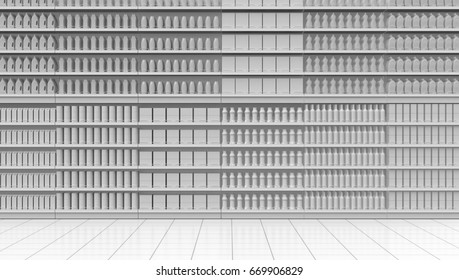 one supermarket corridor with shelves full of products, white background (3d render)