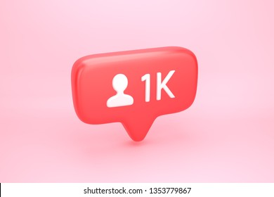 One thousand friend request, subscriber or follower social media notification icon with user pic symbol and number 1K on counter. 3D illustration