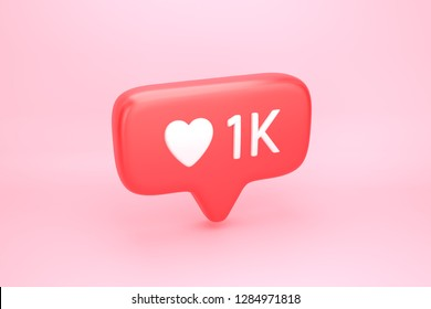One thousand likes social media notification icon with heart symbol and number 1K on like counter. 3D illustration
