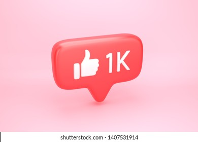 One thousand likes social media notification icon with thumb up symbol and number 1K on counter. 3D illustration