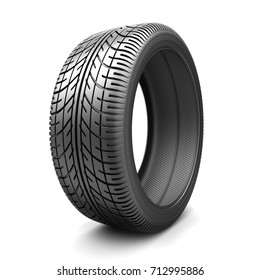 One tire car on white background. 3d illustration