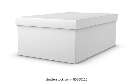 one white closed shoe box (3d render)