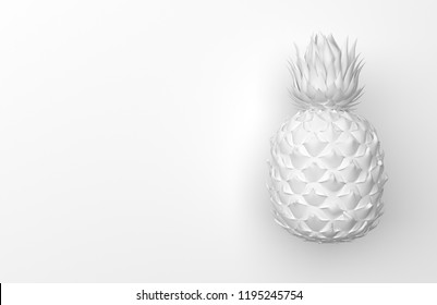One white pineapple isolated on a white background with space for text. Tropical exotic fruit. Front view. 3D rendering.