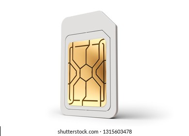 One white sim card standing isolated on white background. 3D rendering