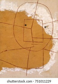 ONE WHO UNDERSTANDS, by Paul Klee, 1934, Swiss painting, oil on canvas. Abstract human head made up of geometric planes of white, gray, and black and three horizontal lines for eyes and mouth. It was