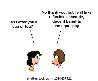 One woman offers tea and the other woman wants equal rights for women
