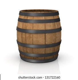 one wooden barrel on white background (3d render)