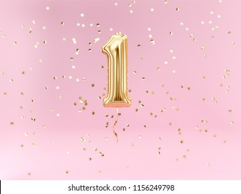 One year birthday. Number 1 flying foil balloon and confetti. One-year anniversary background. 3d rendering