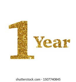 one year glitter gold white number
