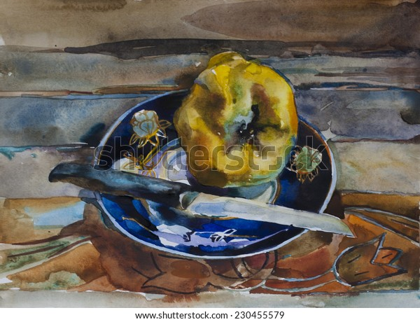 One yellow ripe quince on the blue plate on rustic wooden plank table original waterclolr still life painting