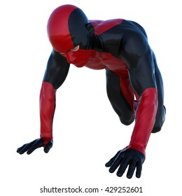 one young man in the red and black super suit. Crawls on his knees. 3D rendering, 3D illustration