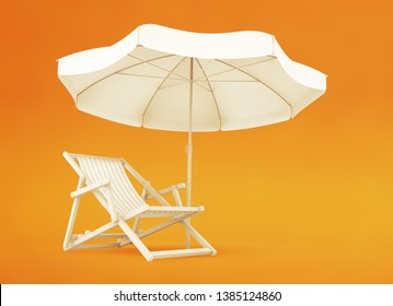 One-Person Vacation Spot. Beach chair and parasol on yellow / orange background. 3D rendering graphics on the subject of 'Summer Recreation'.