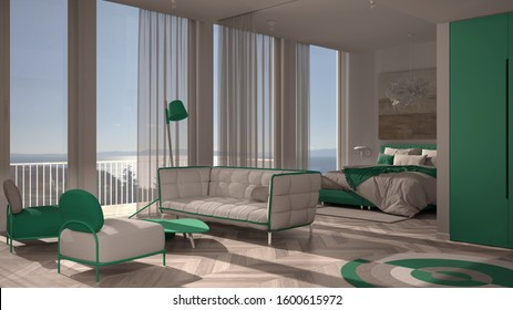 One-room apartment, white and turquoise interior design, parquet, open space: living room with sofa, armchairs, table, bedroom with bed and blanket. Panoramic windows with curtains, 3d illustration