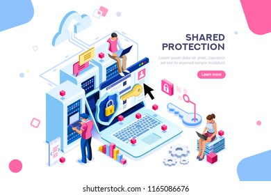 Online administrator, web hosting concept. Technician repair software. Hardware protection share infographic. Store safe server concept. Characters and text images, flat isometric illustration