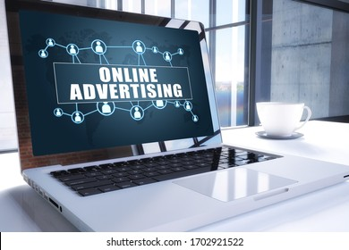 Online Advertising text on modern laptop screen in office environment. 3D render illustration business text concept.