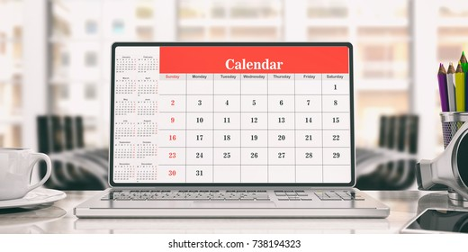 Online agenda. Calendar on a laptop screen, office background. 3d illustration