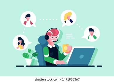 Online assistant working at office illustration. Smiling man sitting at workplace with cup of tea flat concept. Hotline operator with hands-free headset advises client. Technical support