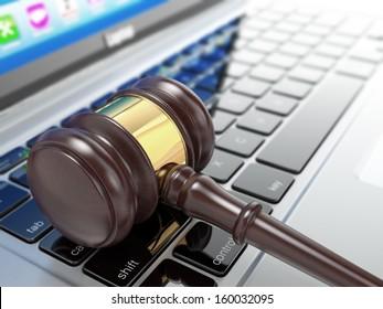 Online auction. Gavel on laptop. Conceptual image. 3d