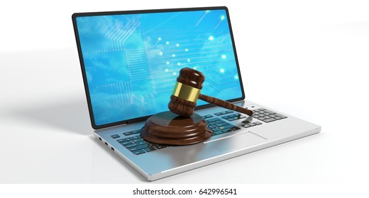 Online auction. Judge or auction gavel and a computer laptop isolated on white background. 3d illustration