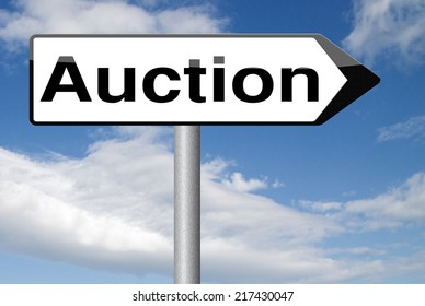Online Auction Sign Bid Buy Here Stock Illustration 217430047