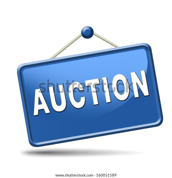 Online Auction Sign Bid Buy Here Stock Illustration 160051589