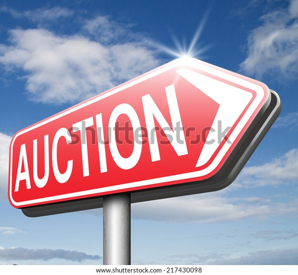 Online Auction Sign Bid Buy Here Stock Illustration 217430098