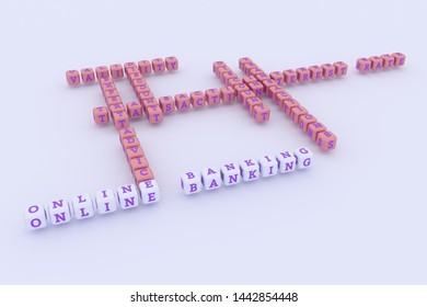 Online Banking, finance keyword crossword. For web page or design, as graphic resource, texture or background. 3D rendering.