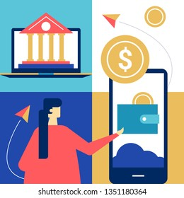 Online banking - flat design style colorful illustration. Unusual composition with a woman using a smartphone, mobile app to make financial operations, images of laptop, building, coin, wallet